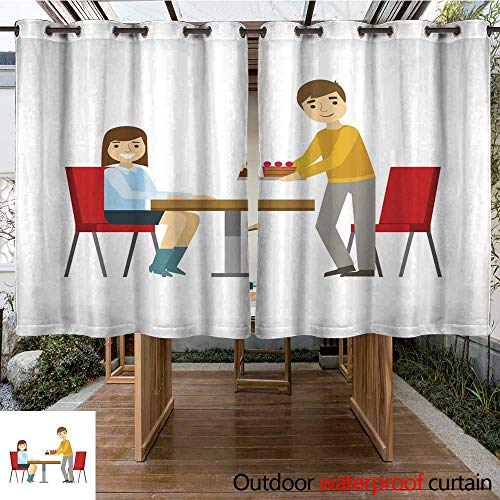 RenteriaDecor Outdoor Ultraviolet Protective Curtains Guy Briniging Cakes to The Girl at The Table Smiling Person Having A Dessert in Sweet Pastry Cafe Vector Illustration W108 x L72