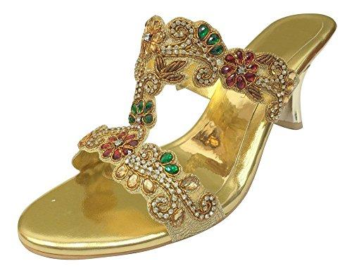 Step n Style Women Evening Sandals Ladies Low Heel Diamante Wedding Party Jutti Shoes u1NezA