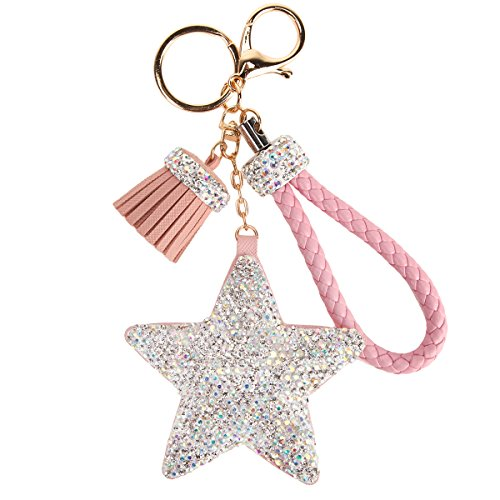 Fawziya Giraffe Keychains For Women Chains Tassel Handbag Accessories Charms-Pink ()