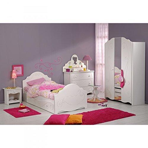 Kinderzimmer Celina 7-tlg Weißszlig; Bett Bettkasten Nachtkommode Schubkastenkommode Aufsatz Kleiderschrank Hocker Jugendzimmer