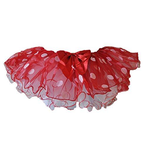 GoForDance Ladybug Polka Dot Girl's Costume 3 Layered Tulle Tutu Assorted Colors (Red-wht) -