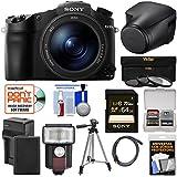 Sony Cyber-Shot DSC-RX10 III 4K Wi-Fi Digital Camera LCJ-RXJ Leather Case + 64GB Card + Battery & Charger + Flash + Filters + Tripod + Kit