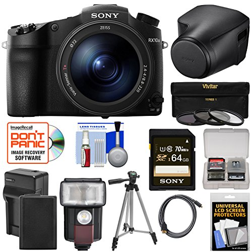 Sony Cyber-Shot DSC-RX10 III 4K Wi-Fi Digital Camera with LCJ-RXJ Leather Case + 64GB Card + Battery & Charger + Flash + Filters + Tripod + (Charger Leather Case Lcd)