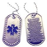 Star of Life - EMS Prayer Brushed Steel Dog Tag