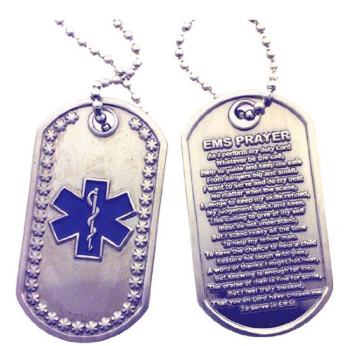 Star of Life - EMS Prayer Brushed Steel Dog Tag by RescueTees