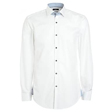028f5e720 Image Unavailable. Image not available for. Colour: BOSS Hugo Black Shirt,  White Slim Fit Business ' ...