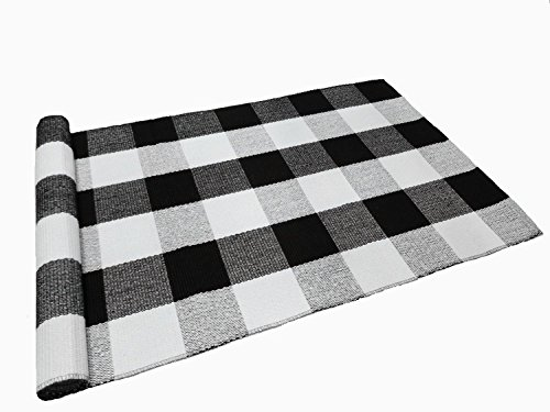 Ukeler Buffalo Check Rug, Black and White Plaid Rugs Cotton Hand-woven Checkered Carpet Washable Braided Kitchen Rugs and Mat, ()