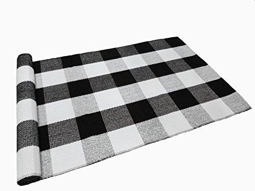 Love Happy Buffalo Check Plaid Bath Runner Cotton Plaid Checkered Bath Mat Kitchen Mat Entry Way Bath Doormat Bedroom Carpet (24