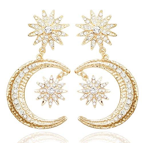 RechicGu Greek Crescent Moon Star Austria Crystal Dangle Earrings Wicca Pagan]()