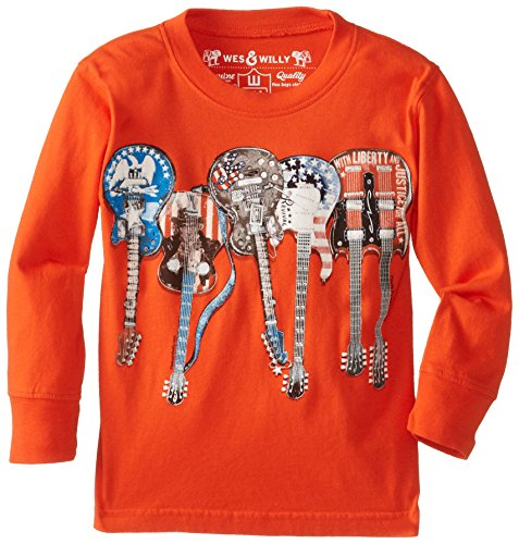 Wes & Willy Little Boys' Liberty Guitars Long Sleeve Tee, Tangerine Tango, 2T Boys Long Sleeve Guitar