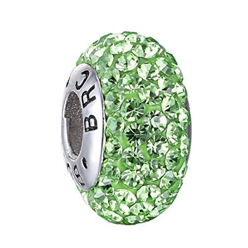Boruo 925 Sterling Silver Czech Crystal Peridot Glass Ball Charms Beads Spacers August Birthstone Threaded Core Charm Fit All Bracelets.