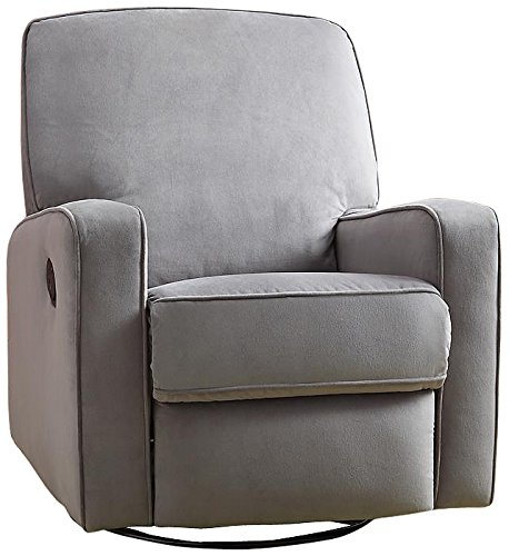 Pulaski Sutton Swivel Glider Recliner, Zen Grey with Stella Piping by Pulaski