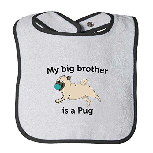 My Brother Is A Pug Infant Contrast Trim Terry Bib White/Black -