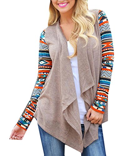 Generic Womens Long Sleeve Front Open Kint Cardigan Shawl Jacket Khaki