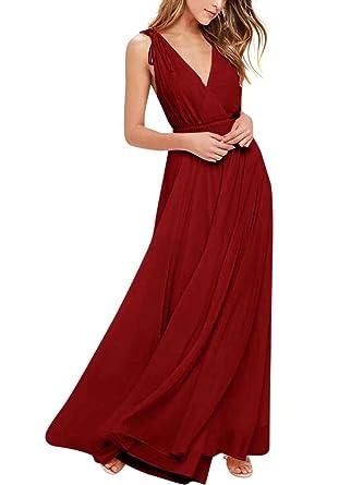 Frauen Brautjungfer Kleid Lange Chiffon V-Ausschnitt Abendkleid mit ...