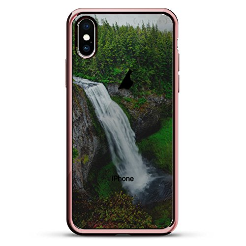 WATERFALL SEETHROUGH | Luxendary Chrome Series designer case for iPhone X in Rose Gold trim