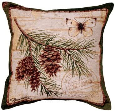 Simply Home Pinecone Branch Butterfly Tapestry Toss Pillow USA Made SKU PTP865, , 17 x 17