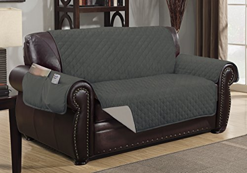 Sofa Guard Deluxe Reversible Loveseat Furniture Pet Protector, Grey / Light Grey
