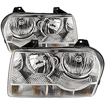 Headlights Depot Replacement for Chrysler 300 Headlight OE Style Replacement Headlamp Driver/Passenger Pair New