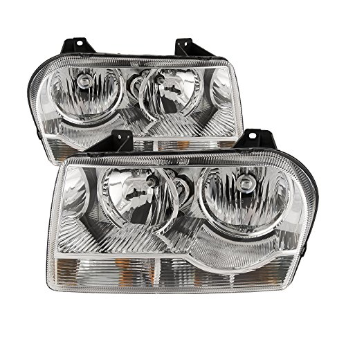 HEADLIGHTSDEPOT Compatible with Headlights Set Halogen Chrome Driver Left Passenger Right Pair Fits Chrysler 300 V6 Straight ()