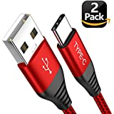 USB Type C Cable, [2Pack/6.6ft] Eakase USB A to USB C Nylon Braided Fast Charger Sync Cord for Samsung Galaxy S9 S8 Note 8, LG V20 G5, Pixel, Nexus 5 X 6P, Moto Z, OnePlus 5 3T, Nintendo Switch (Red)