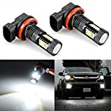JDM ASTAR Extremely Bright 3030 Chipsets H11 LED Bulbs for DRL or Fog Lights, Xenon White