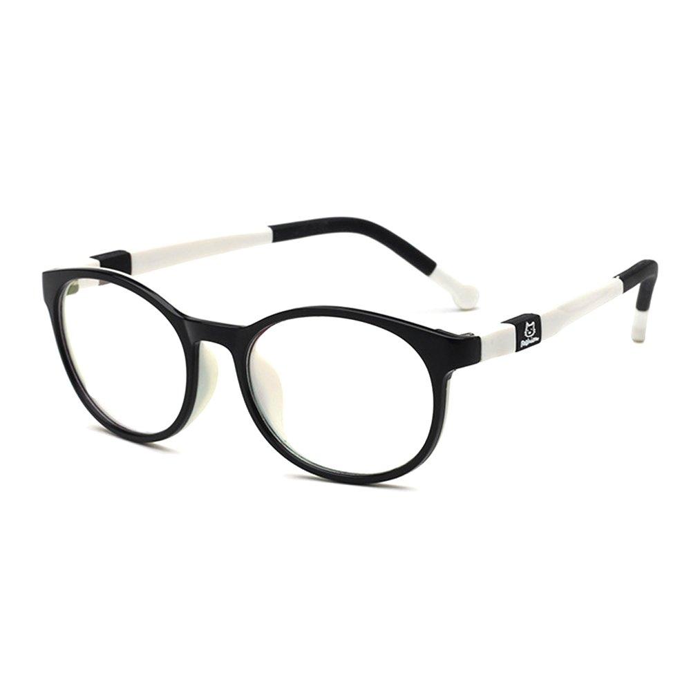 Fantia Kids Safety Flex Optical Round Eye Glasses Prescription Glasses (Black and White)