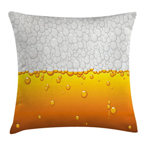 Chair Club Bubble (Ambesonne Abstract Throw Pillow Cushion Cover, Brewery Beer Bubbles Liquid Water Crystals Background Beverage Drink Design, Decorative Square Accent Pillow Case, 24 X 24 inches, Pearl Marigold)