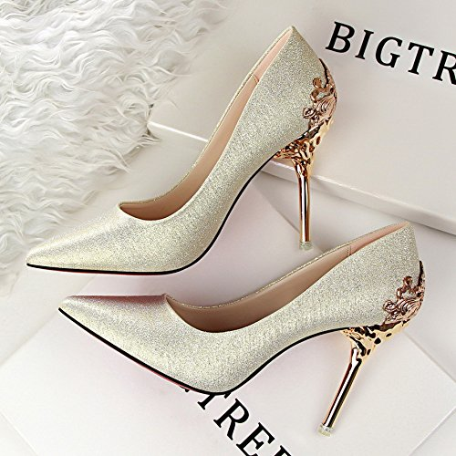 shoes shoes Pumps Women's shoes wedding Sandals shoes shoes evening Gold The Shoes which Heels New lattice red were bridal 10CM with High HUAIHAIZ Court 0EOHwqq