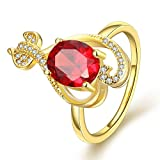 GOMAYA Women Charms Jewelry Classic Gold Plated Zircon Oval Statement Rings