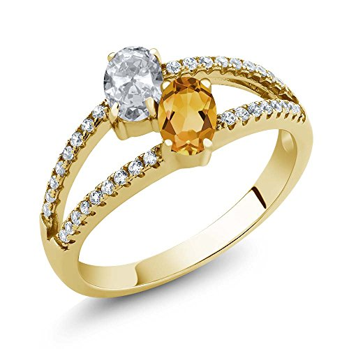 Gem Stone King 1.31 Ct White Topaz Yellow Citrine Two Stone 18K Yellow Gold Plated Silver Ring (Size 6)