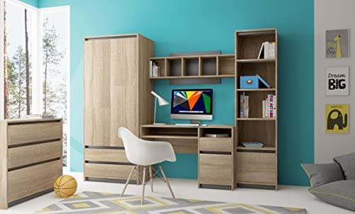Heze Ltd Children, teens bedroom furniture, strong and solid, 4 pieces, oak  sonoma and grey, modern! Madg1