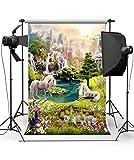 Fiona 5x7ft Unicorn Backdrop Fairytale Nature White Horses Rainbow Photo Backdrops for Photo Studios Photography Background