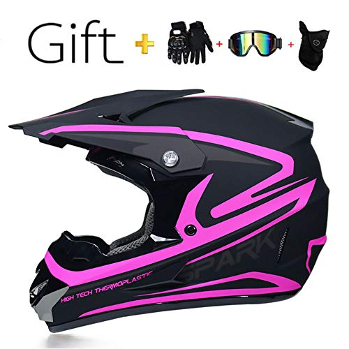 FlyingBoy Children's or Adult Motorcycle Off-Road Helmet, ATV Scooter Downhill MX Motorcycle Helmet D.O.T Certification/Send Goggles Gloves mask (S, M, L, XL),Pink,S
