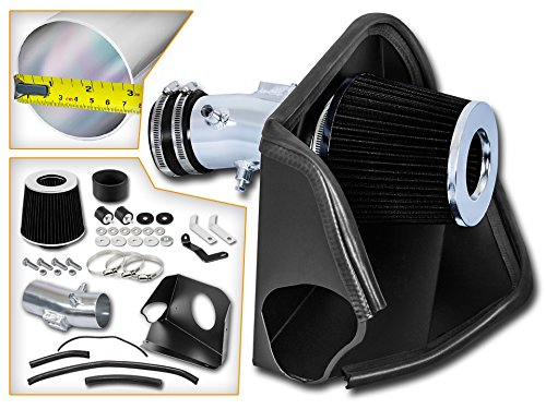 Cold Air Intake System with Heat Shield Kit + Filter Combo BLACK Compatible For 07-12 Nissan Altima 3.5L V6 ()