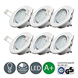 LED recessed ceiling light I pivotable and rotatable I fitted light I warm white I metal I white metal look I 6 x 3 W LED modules I 230 V I GU10 I IP23
