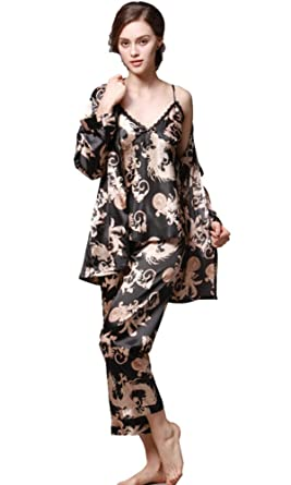 2fdcef6f07 Satin Robe Chinese Dragon and Phoenix Robe Pajamas Silk Sleepwear Kimono  Nightgown Bathrobe Men Women