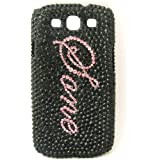 Generic Custom Chic Black Rhinestone Name Case Cover for Samsung Galaxy S3 9300