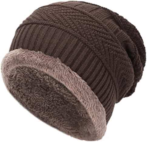 3cfc0730987 Mens Thick Warm Winter Fleece Lined Knit Beanie Hat Baggy Oversize Slouchy  Stocking Beanie Skull Cap