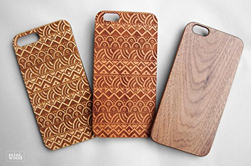 Classic Pattern - Miniwood iPhone/ Samsung Case - Natural Real Wooden, Laser Engraving, Unique Case, Unique, Classy & Stylish Wood, Protective Bumper with Real All Wooden Cover (Macbook G4 Apple)