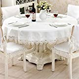 TaiXiuHome White European Style Minimalist Floral Embroidery Lace Tablecloth Hollow Top Decoration Round approx 72 inch (180cm)