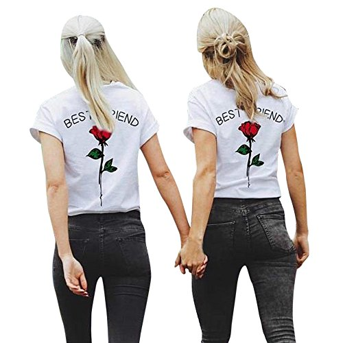 Women Shirts Best Friend Letters Rose Printed Casual Short Sleeve Blouse Tunic Girls Sweatshirt Pullover Tops Plus Size (M, Red)