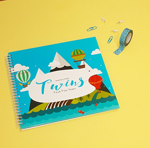 The Adventure Edition - Twins First Five Years Memory Book with Stickers - Baby 1st Year Milestone Photo Album - Newborn Hard Cover Journal - Babies Personalized Keepsake Scrapbook Diary by Unconditional Rosie (Image #5)