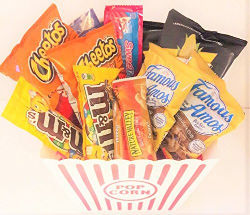 Movie Night Snack Gift Basket with Cheddar Cheese Smartfoods Popcorn, M&Ms, Cheetos, Nature's Valley Salty Sweet, Sweetart Ropes, Famous Amos, Reusable Plastic Popcorn Bucket Basket