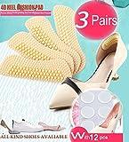 Heel Cushion Inserts,Heel Pads,Too Big Inserts Shoes Cushion 4D(3pairs) Gel Spot(12pcs) high Heel Inserts (Beige)