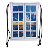 Custom Printed Drawstring Sack Backpacks Bags,House Decor,Sunset on the Sea Scenery from Window with Open Curtains Horizon Silence Relax Artprint,Blue White Soft Satin,5 Liter Capacity,Adjustable Stri