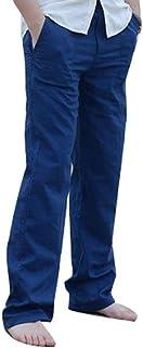 Pantalones Largos De Lino De Los Hombres Elástica Pantalones Cintura Transpirables Ligeros Basicas Sueltos con Bolsillos Más 6 Colores M 3XL
