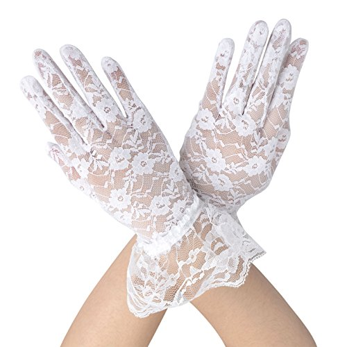 Women's Summer Elegant & Dressy Short White Lace Gloves with Wrist Ruffle (Gloves Lace Ruffle)