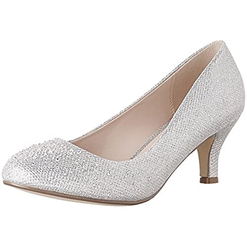 Bonnibel Wonda-1 Womens Round Toe Low Heel Glitter Slip On Dress Pumps, Silver,9