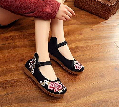Eeayyygch Bestickte Schuhe Sehnensohle Ethno-Stil weibliche Stoffschuhe Stoffschuhe Stoffschuhe Mode bequem lässig schwarz 43 (Farbe   - Größe   -) 7d555e